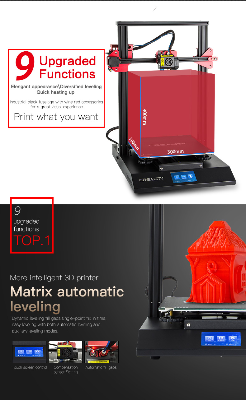 Creality Cr 10s Pro 300300400 Mm 3d Printers All Stable Filament Supply The Reliable Meanwell Power Guarantees Fast Heating And Permanently Temperature Of Build Bed Extruder Print At A